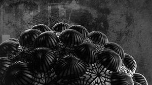 Превью обои шар, рельеф, 3d, черный