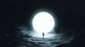 Превью обои силуэт, луна, шар, свечение, темнота