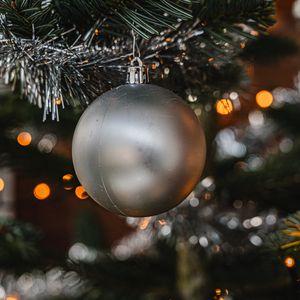 Превью обои шар, украшение, серый, елка, новый год, рождество