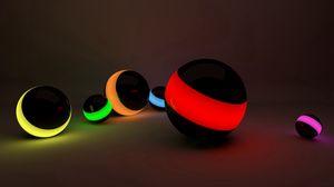 Превью обои шары, линии, неон, свет
