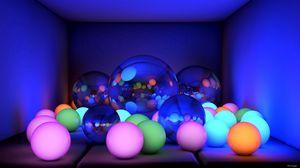 Превью обои шары, размеры, неон, свечение