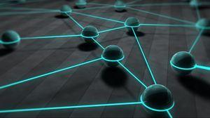 Превью обои шары, сферы, 3d, линии, сеть, свечение