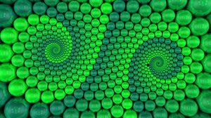 Превью обои шары, спираль, рендеринг, вращение, зеленый