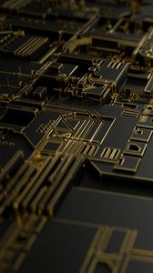 Превью обои схема, чип, деталь, металл, компьютер, макро