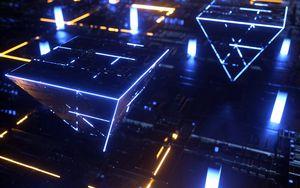 Превью обои схема, процессор, чип, пирамида