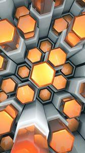 Превью обои шестигранники, структура, 3d, объем