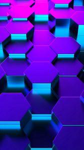 Превью обои шестиугольники, форма, рендеринг, подсветка