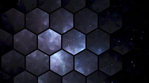 Превью обои шестиугольники, космос, узоры