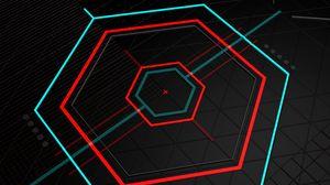 Превью обои шестиугольники, разноцветный, линии, геометрия, абстракция