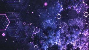 Превью обои шестиугольники, соты, свечение, частицы, абстракция