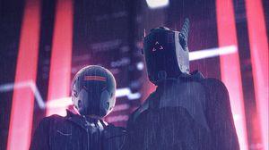 Превью обои шлемы, маски, киберпанк, ночь, дождь, подсветка
