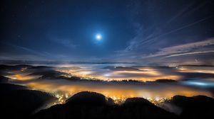 Превью обои швейцария, город, вечер, альпы, горы, туман