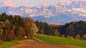 Превью обои швейцария, горы, пейзаж, небо, осень