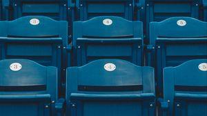 Превью обои сиденья, ряды, трибуна, синий