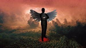 Превью обои силуэт, ангел, дьявол, крылья, фотошоп