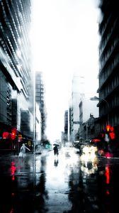 Превью обои силуэт, дождь, одиночество, город