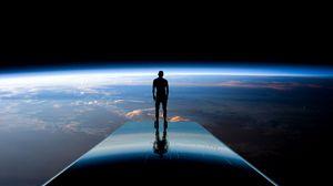 Превью обои силуэт, космос, планет, атмосфера, свечение, вид