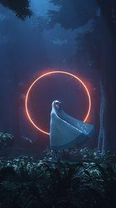 Превью обои силуэт, круг, свечение, лес, ночь, пришелец