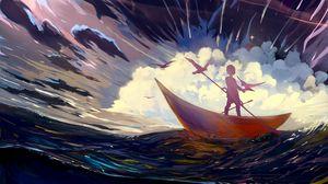 Превью обои силуэт, лодка, арт, шторм, птицы, одинокий