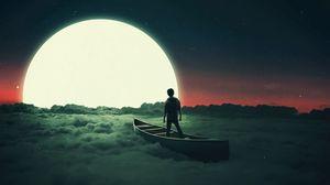 Превью обои силуэт, луна, лодка, одинокой, одиночество, сюрреализм