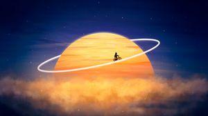 Превью обои силуэт, планета, орбита, велосипедист, фотошоп, фантазия