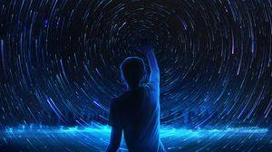 Превью обои силуэт, звездное небо, арт, ночь, блеск, синий