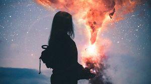 Превью обои силуэт, звездное небо, ночь, фотошоп