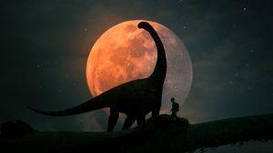 Превью обои силуэты, динозавр, планета, фотошоп, арт