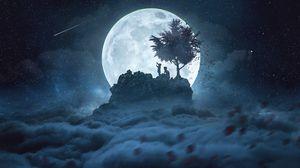 Превью обои силуэты, луна, ночь, вершина, звездное небо, полнолуние