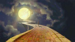 Превью обои силуэты, тропинка, арт, луна, ночь, фонари