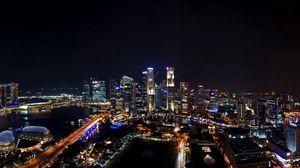 Превью обои сингапур, ночь, город, панорама