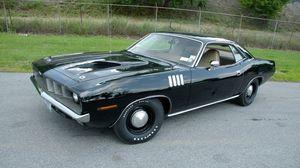 Превью обои 1971, cuda, plymouth, black, плимут, чёрный