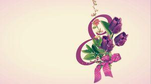 Превью обои 8 марта, международный женский день, открытка, тюльпаны