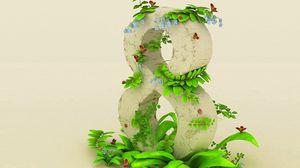 Превью обои 8 марта, весна, цифра, зелень