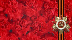Превью обои 9 мая, праздник, победа, гвоздики, георгиевская лента, память, звезда