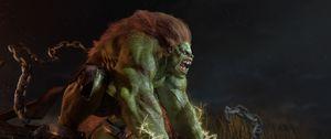 Превью обои abraao segundo, монстр, чудовище, зелёный, волосы, цепи, кандалы, разряд