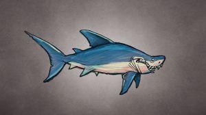 Превью обои акула, арт, рыба, хищник