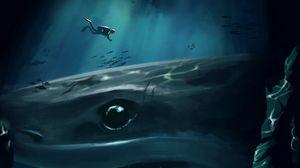 Превью обои акула, дайвер, под водой, пещера, глубина