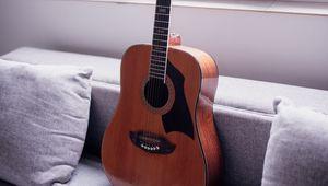Превью обои акустическая гитара, гитара, музыка, музыкальный инструмент