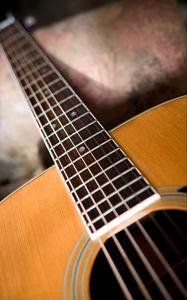 Превью обои акустическая гитара, гитара, музыка, струны, гриф