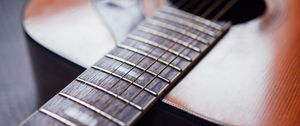 Превью обои акустическая гитара, гитара, струны, гриф, музыка