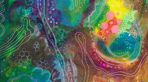 Превью обои акварель, краска, узоры, линии, абстрактный, разноцветный