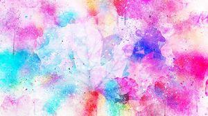 Превью обои акварель, пятна, яркий, розовый
