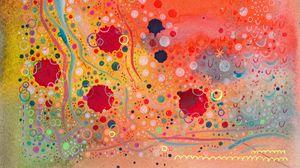 Превью обои акварель, узоры, краска, линии, круги, волнистый, разноцветный