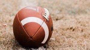 Превью обои американский футбол, мяч, газон, разметка