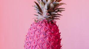 Превью обои ананас, фрукт, розовый, краска, тропический