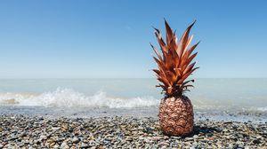 Превью обои ананас, фрукт, тропический, золото, побережье
