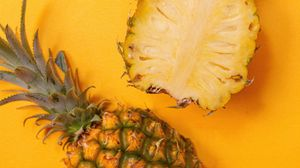 Превью обои ананас, фрукт, желтый