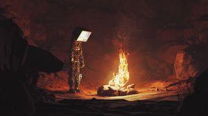 Превью обои андроид, экран, костер, огонь, пещера, темный