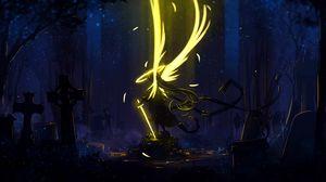 Превью обои ангел, крылья, арт, меч, темный, желтый